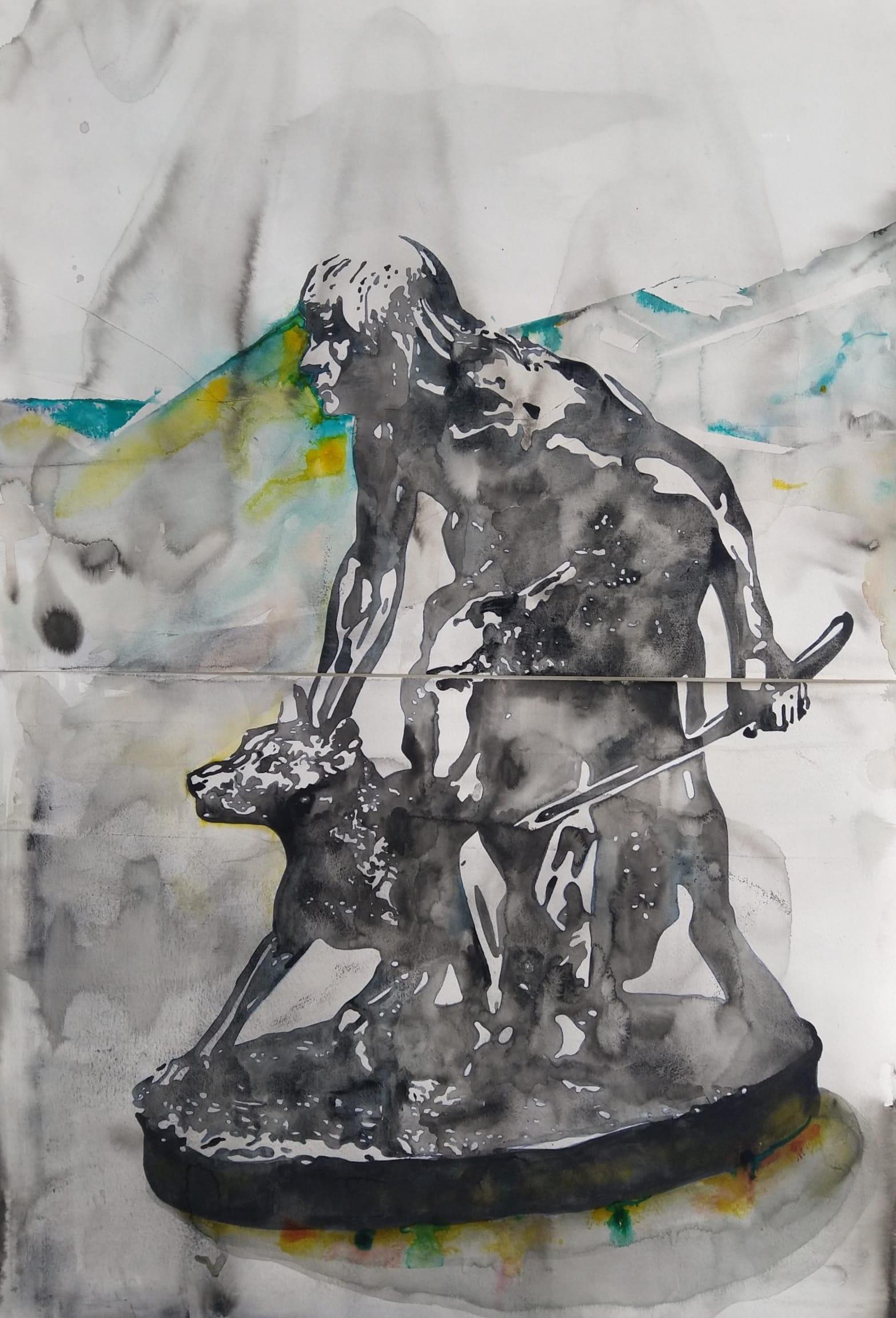 Wouter van de Koot drawing sculpture dog hunter ink watercolour black