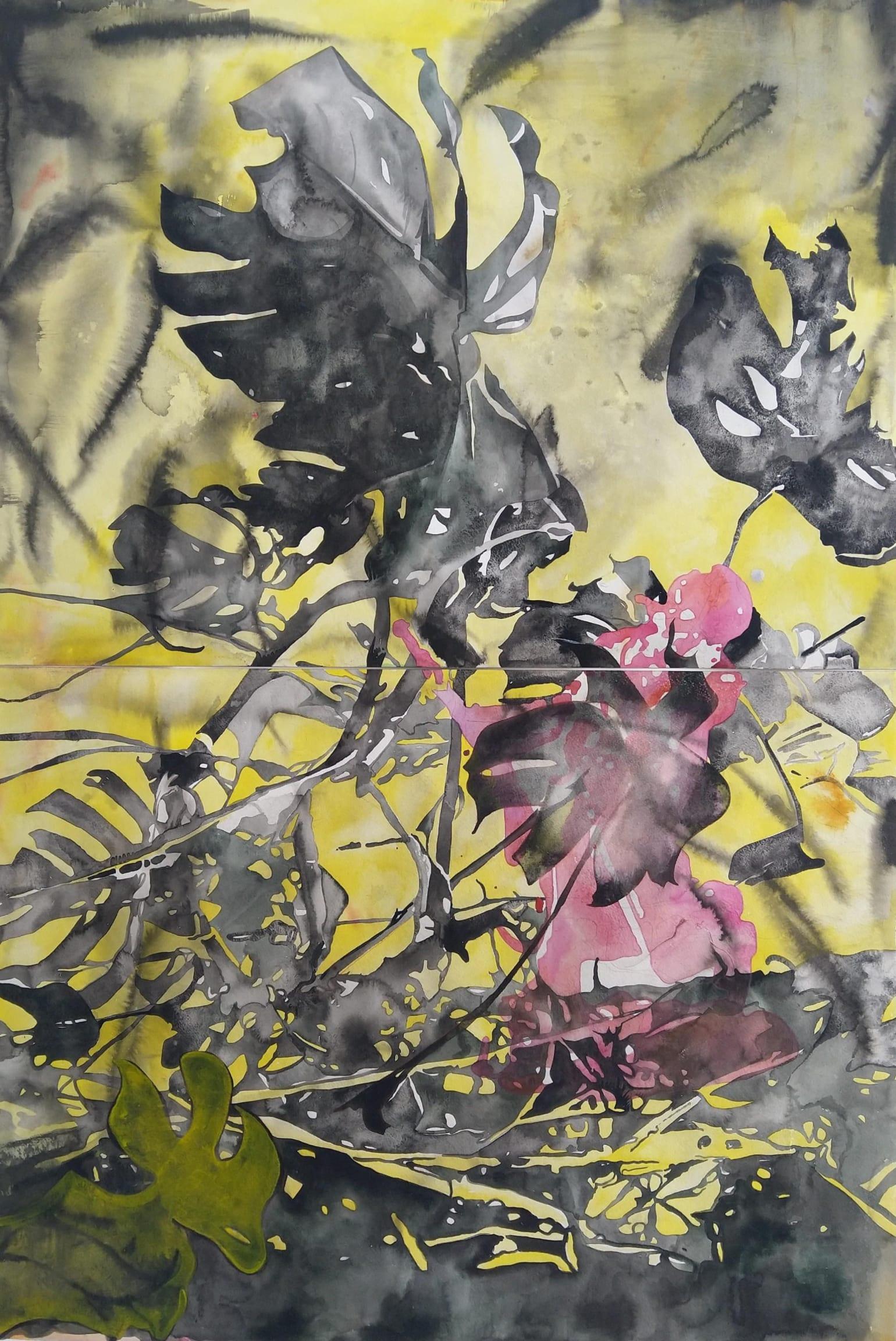 Wouter van de Koot drawing plants ink watercolour black yellow pink