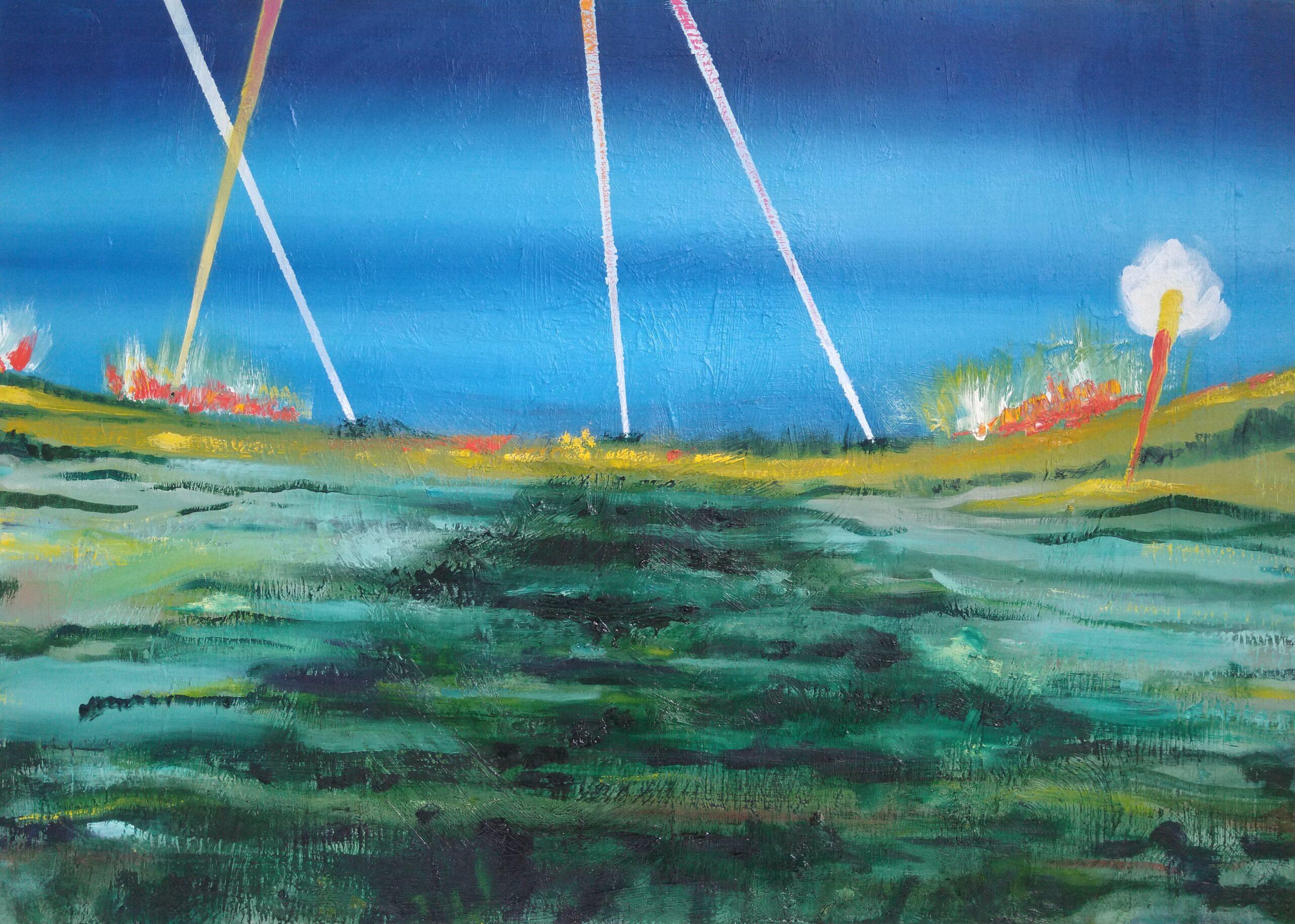 Wouter van de Koot painting battlefield searchlight landscape lights sky