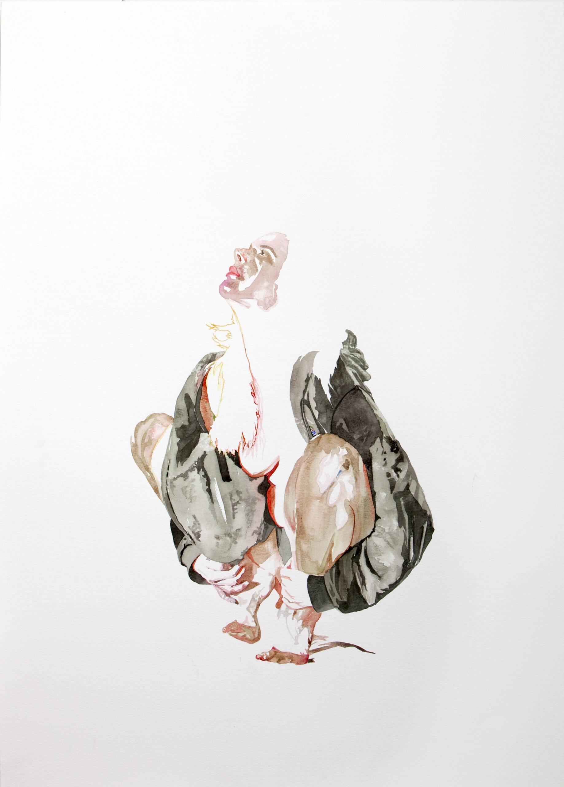 Wouter van de Koot drawing watercolour woman crouching light naked