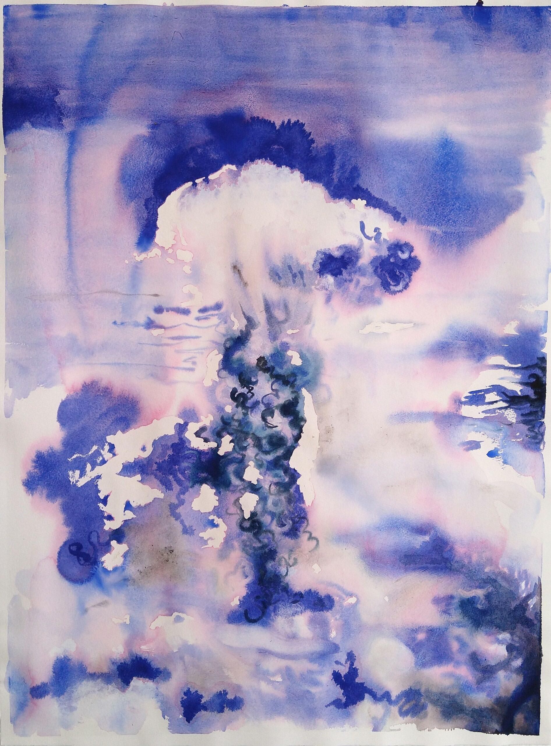 Wouter van de Koot explosion watercolour sky blue cloud elemnets fire antwerp artist