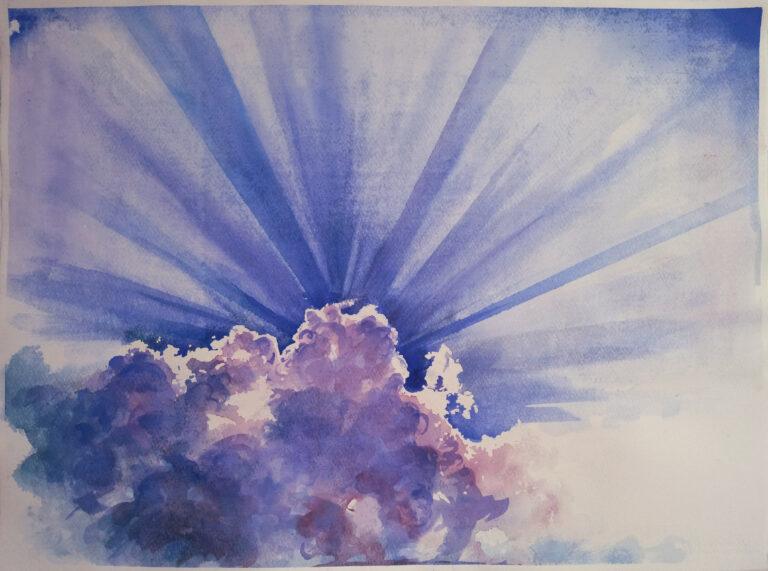 Wouter van de Koot watercolour landscape painting lights sky sun clouds
