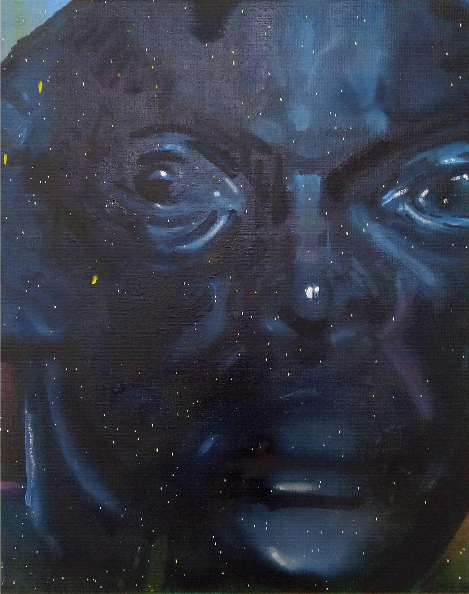 Wouter van de Koot painting sculpture face close up black blue