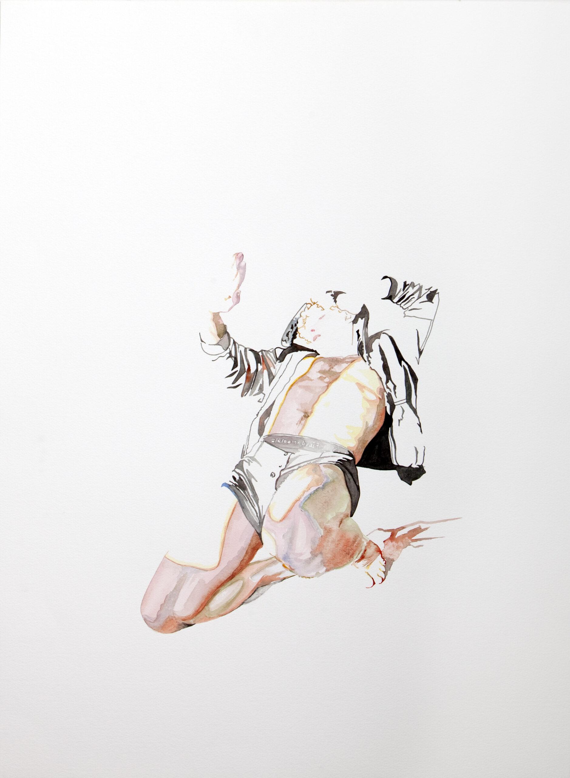 Wouter van de Koot watercolour drawing man light protection