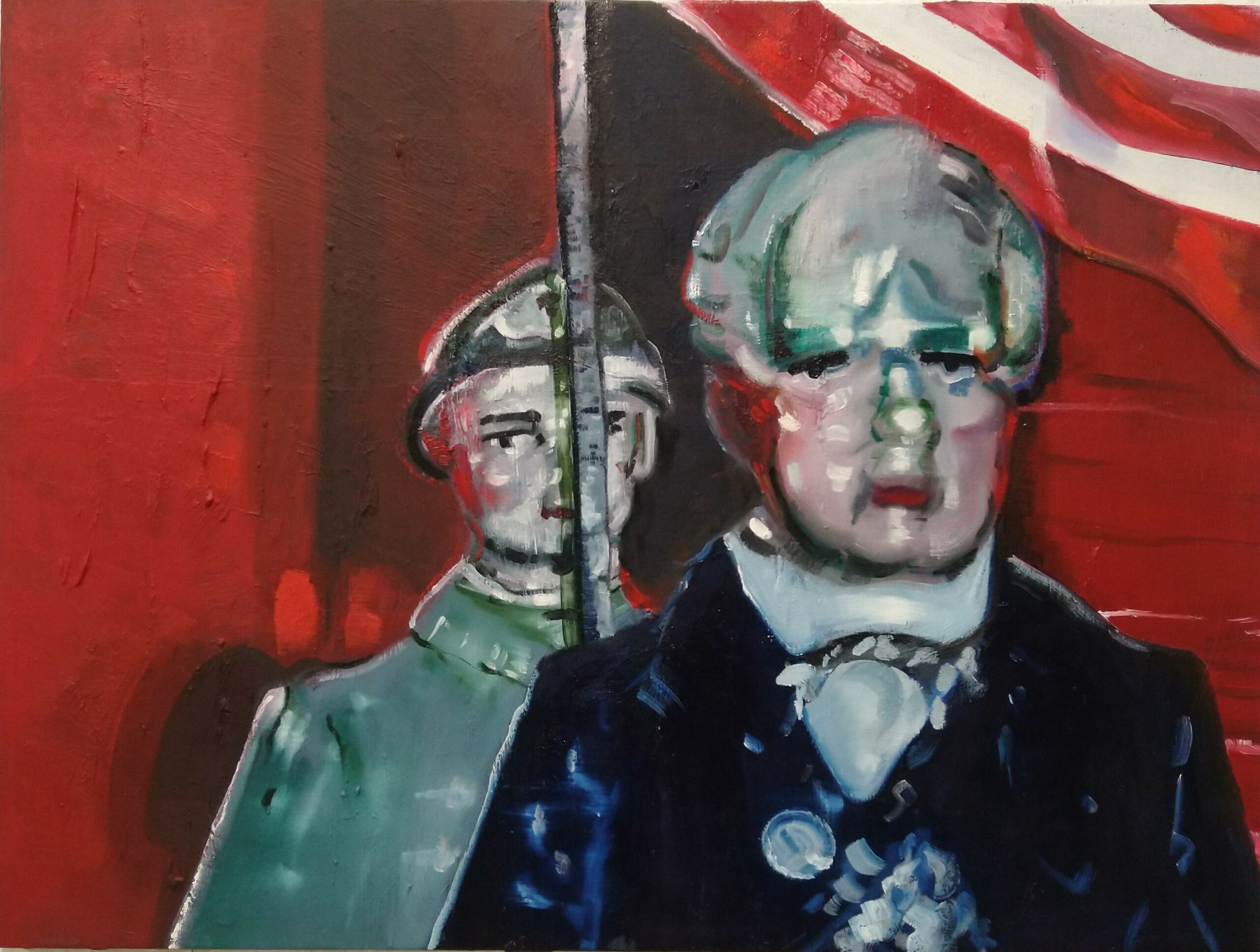 Wouter van de Koot painting puppets red flag president antwerp