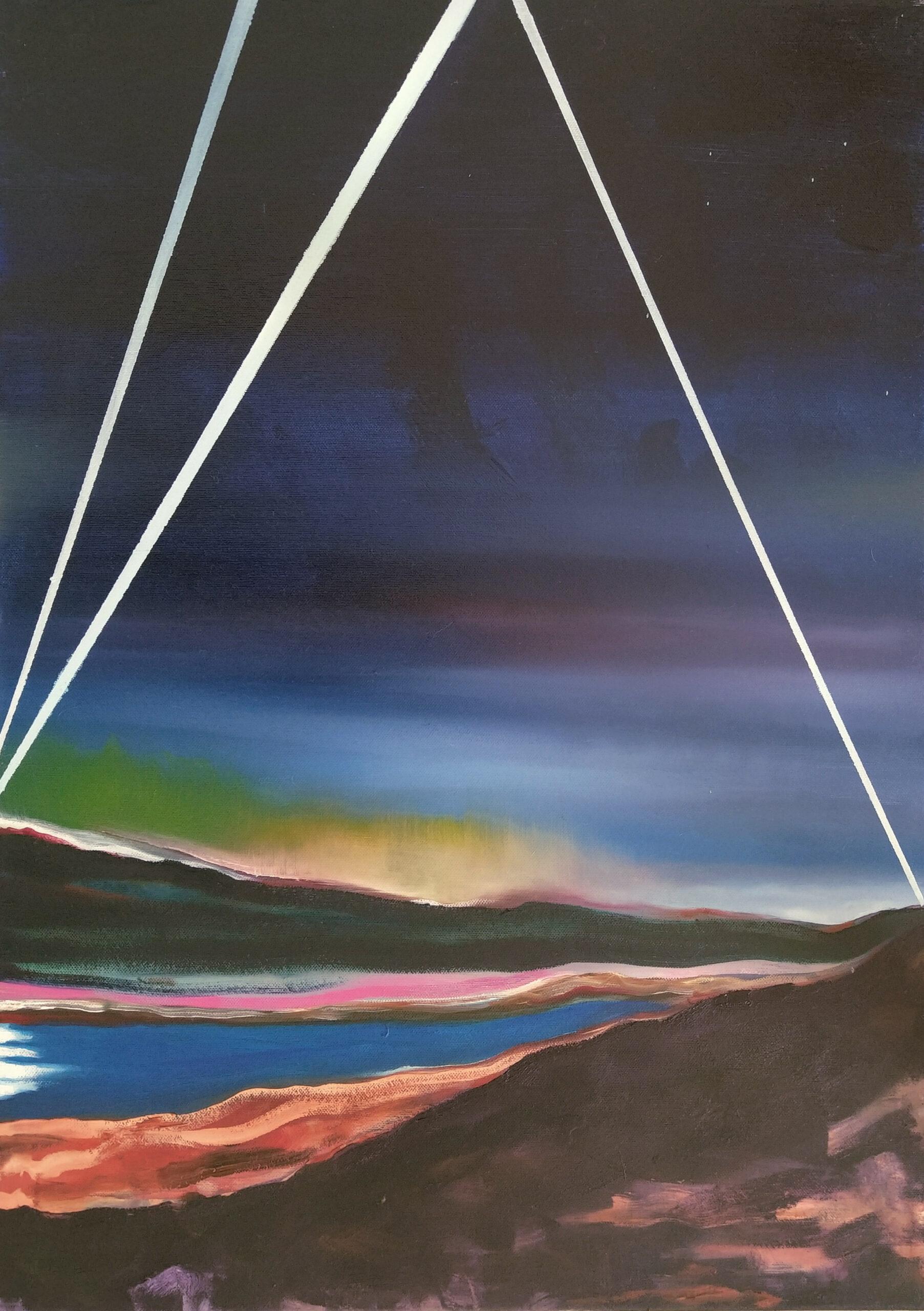 Wouter van de Koot watercolour searchlight landscape painting lights sky