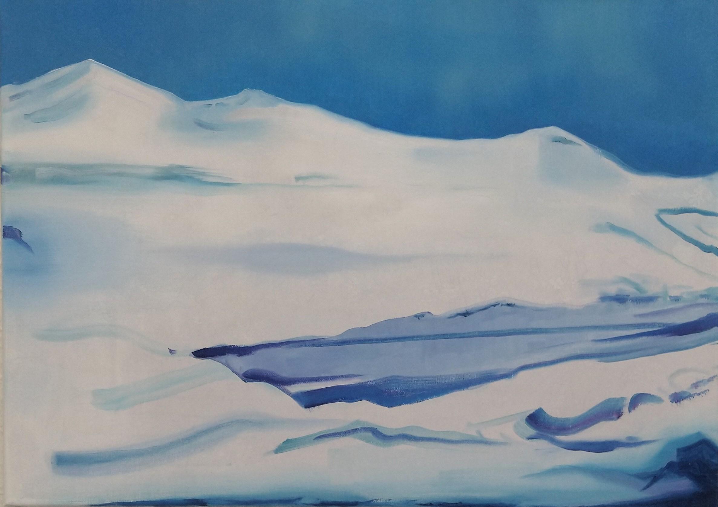 Wouter van de Koot painting snow landsape mountains traces blue white antwerp art