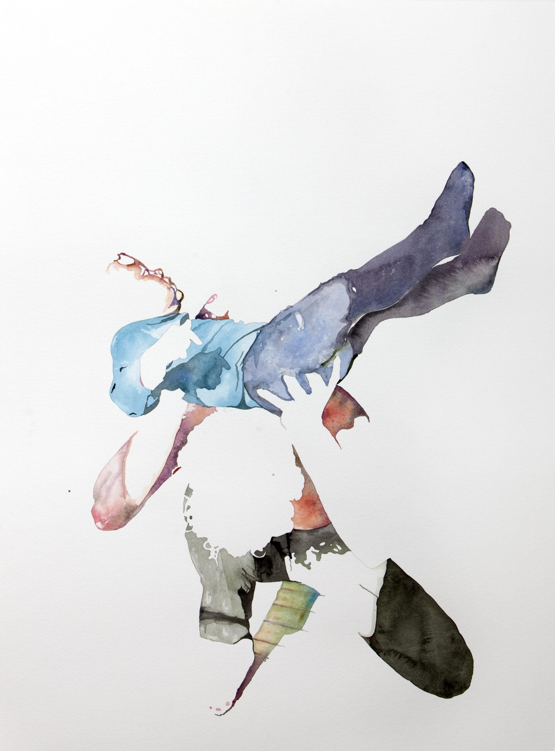 Wouter van de Koot drawing watercolour man holding boy over his head