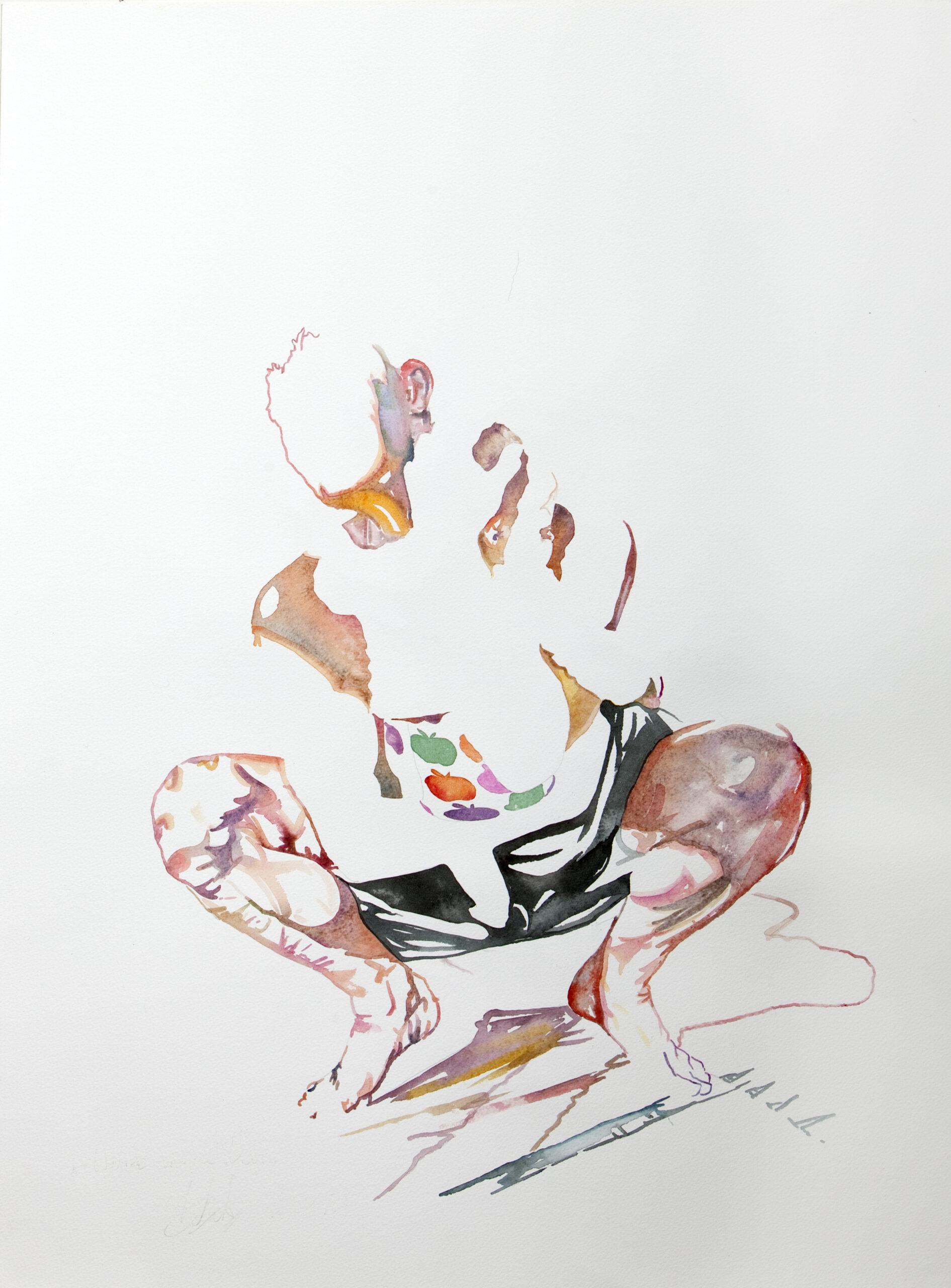 Wouter van de Koot drawing watercolour crouching man baby protection light