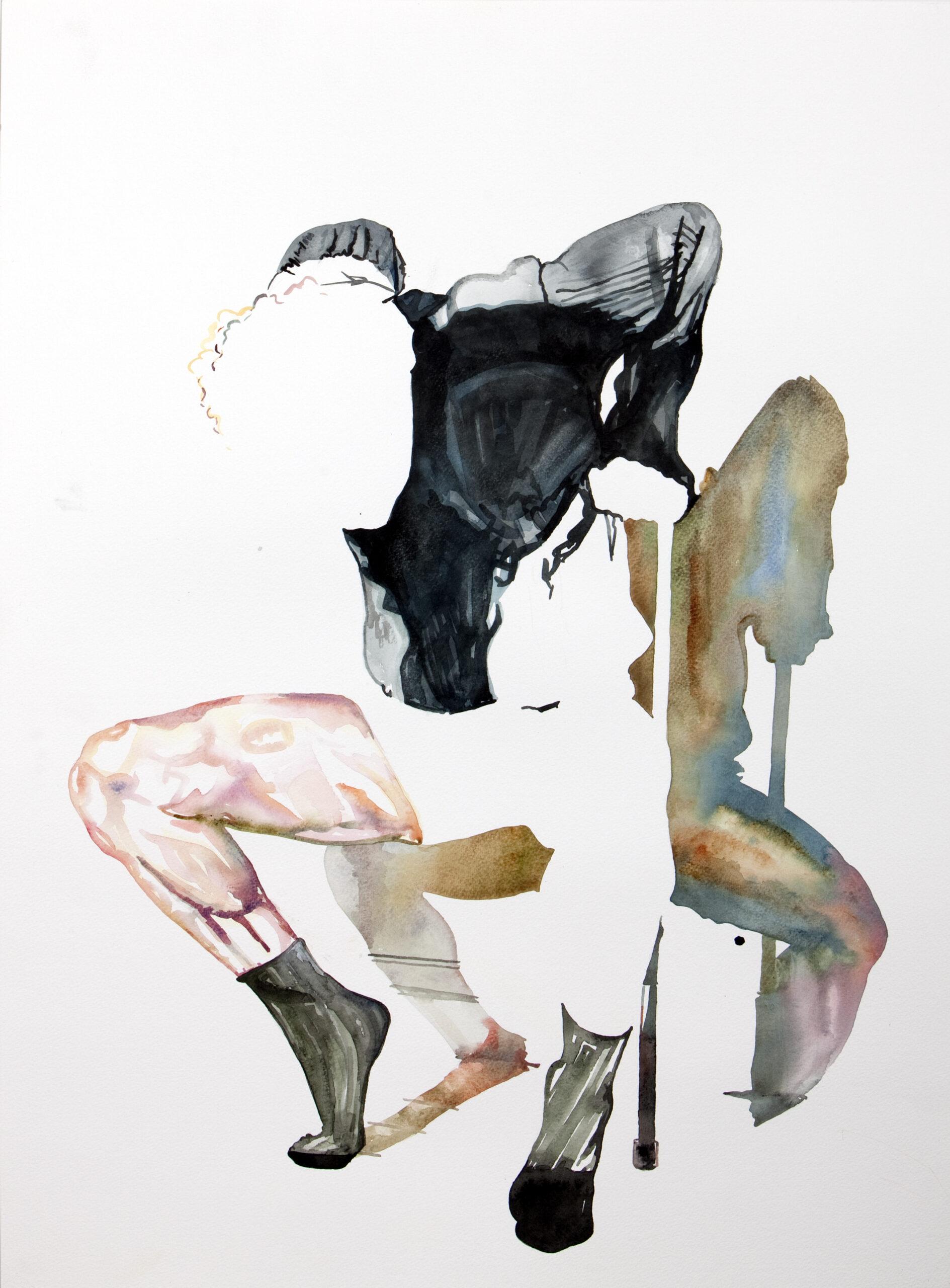 Wouter van de Koot drawing watercolour crouching man dancer socks