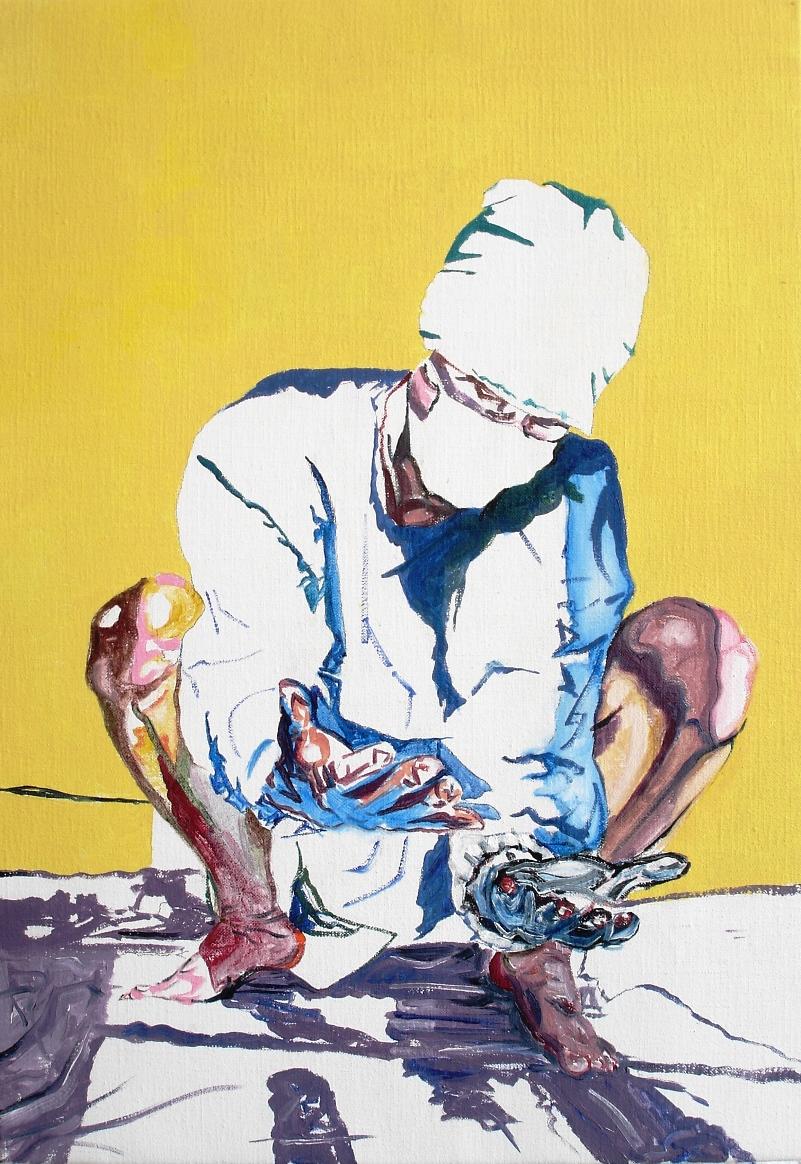 Wouter van de Koot painting crouching hands surgeon yellow