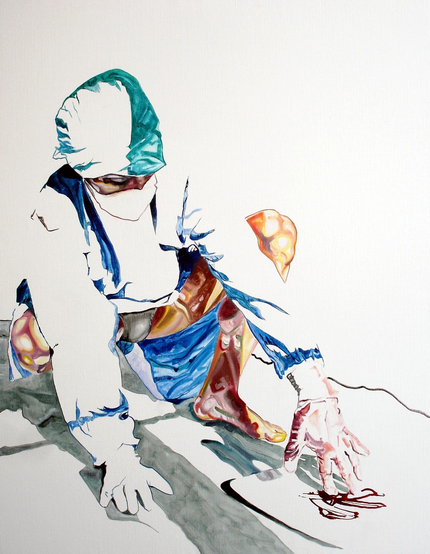 Wouter van de Koot man crouching painting surgeon signs gloves blood