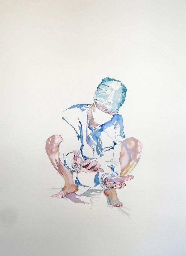 Wouter van de Koot watercolour surgeon crouchin hands