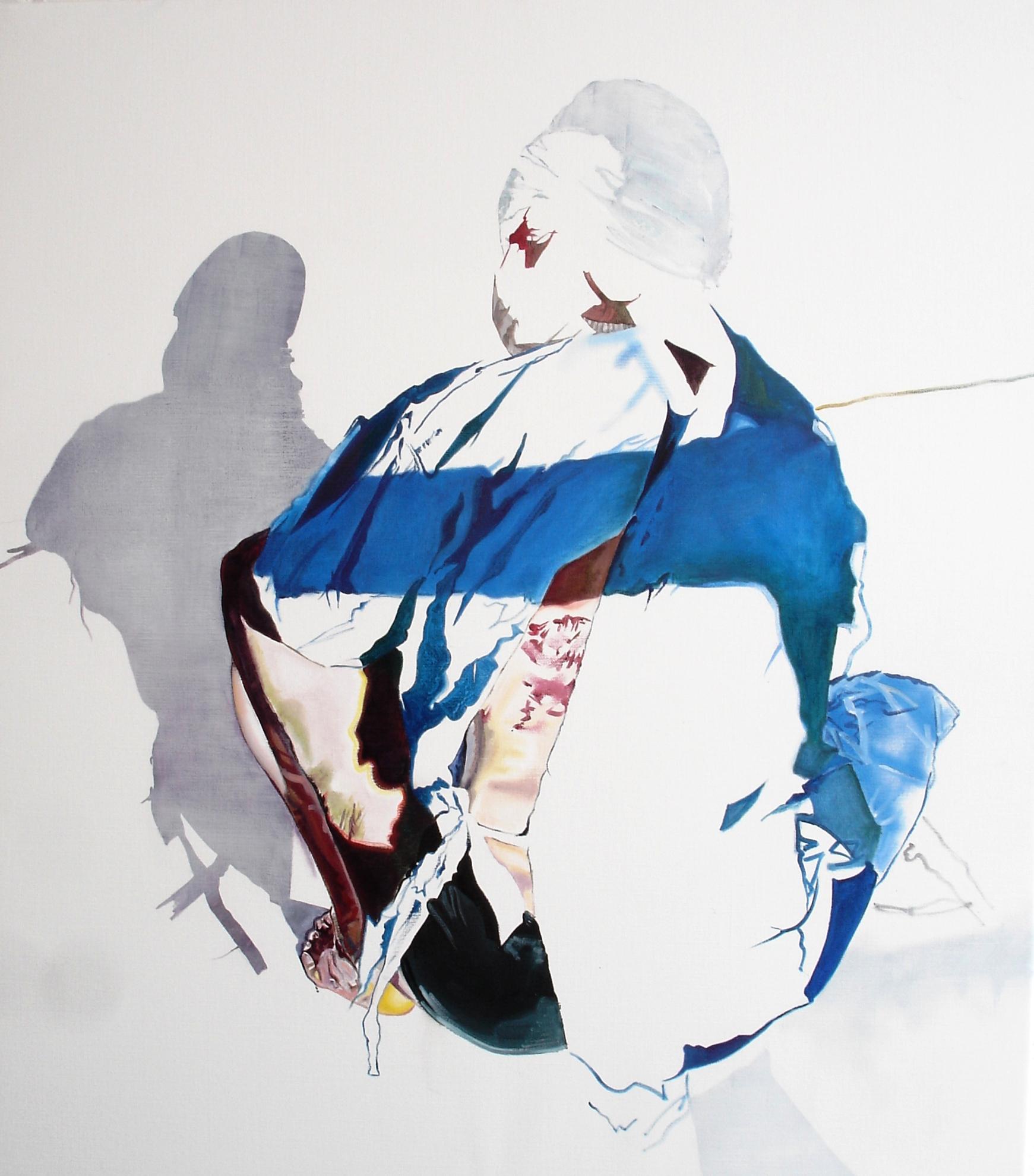 Wouter van de Koot painting man surgeon mask blue crouching shadow