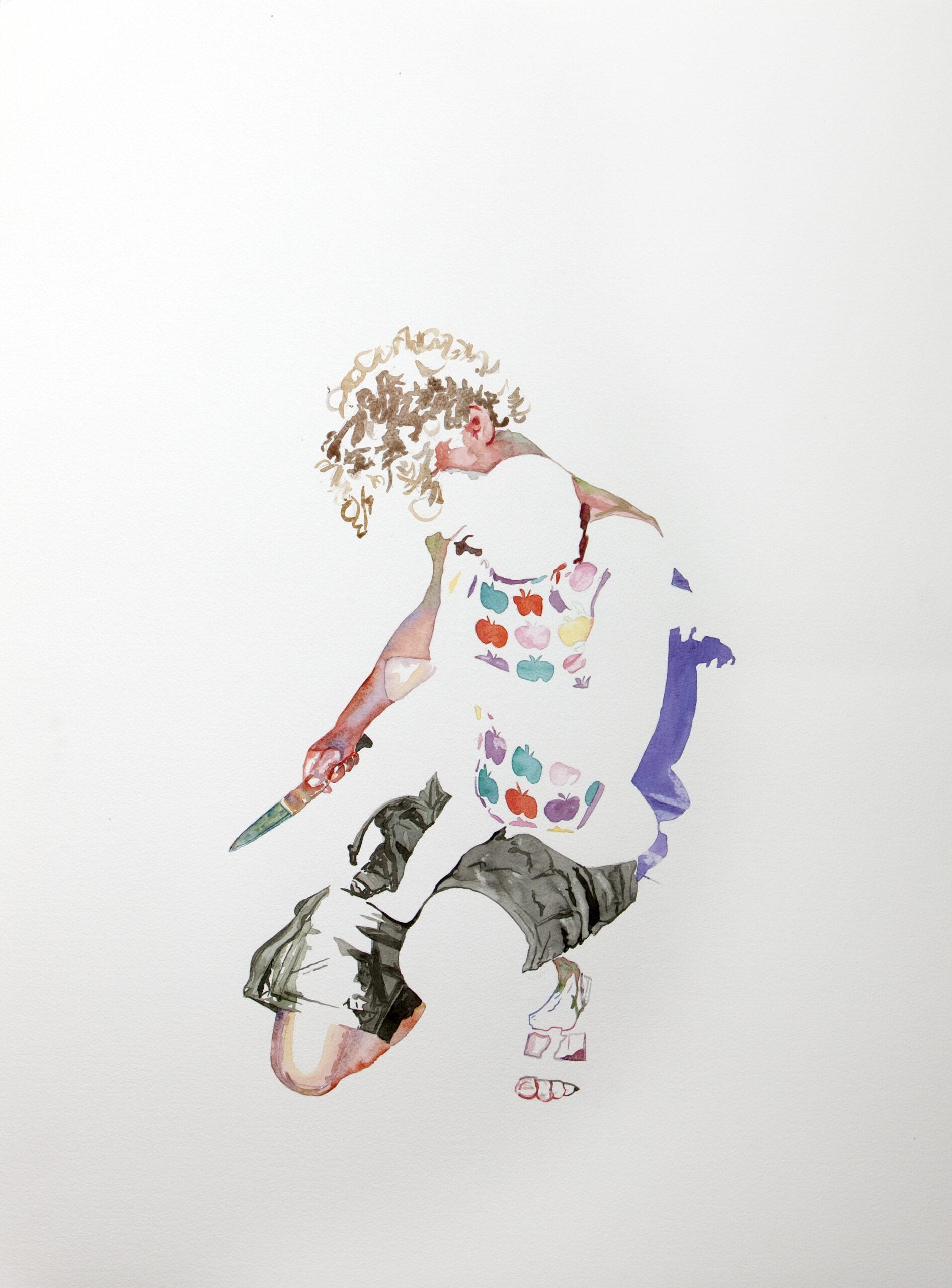 Wouter van de Koot drawing watercolour man crouching knife baby