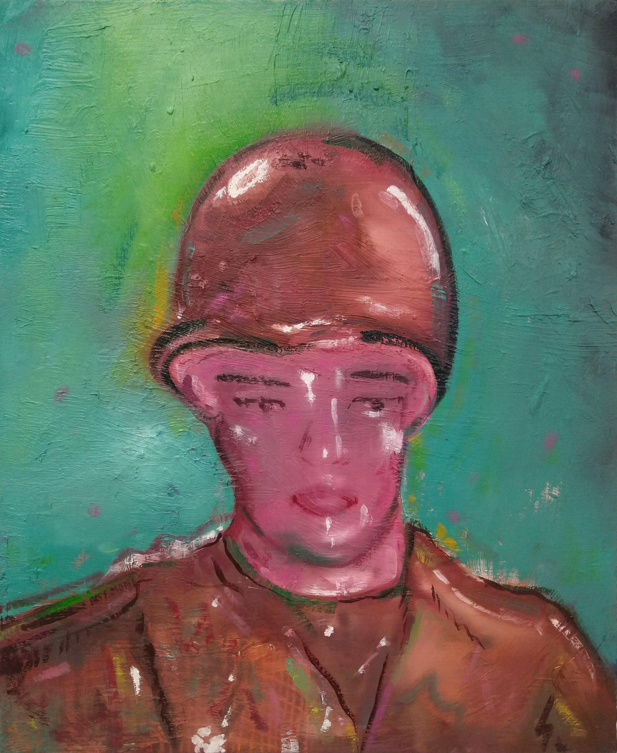 Wouter van de Koot painting soldier toy green helmet antwerp art