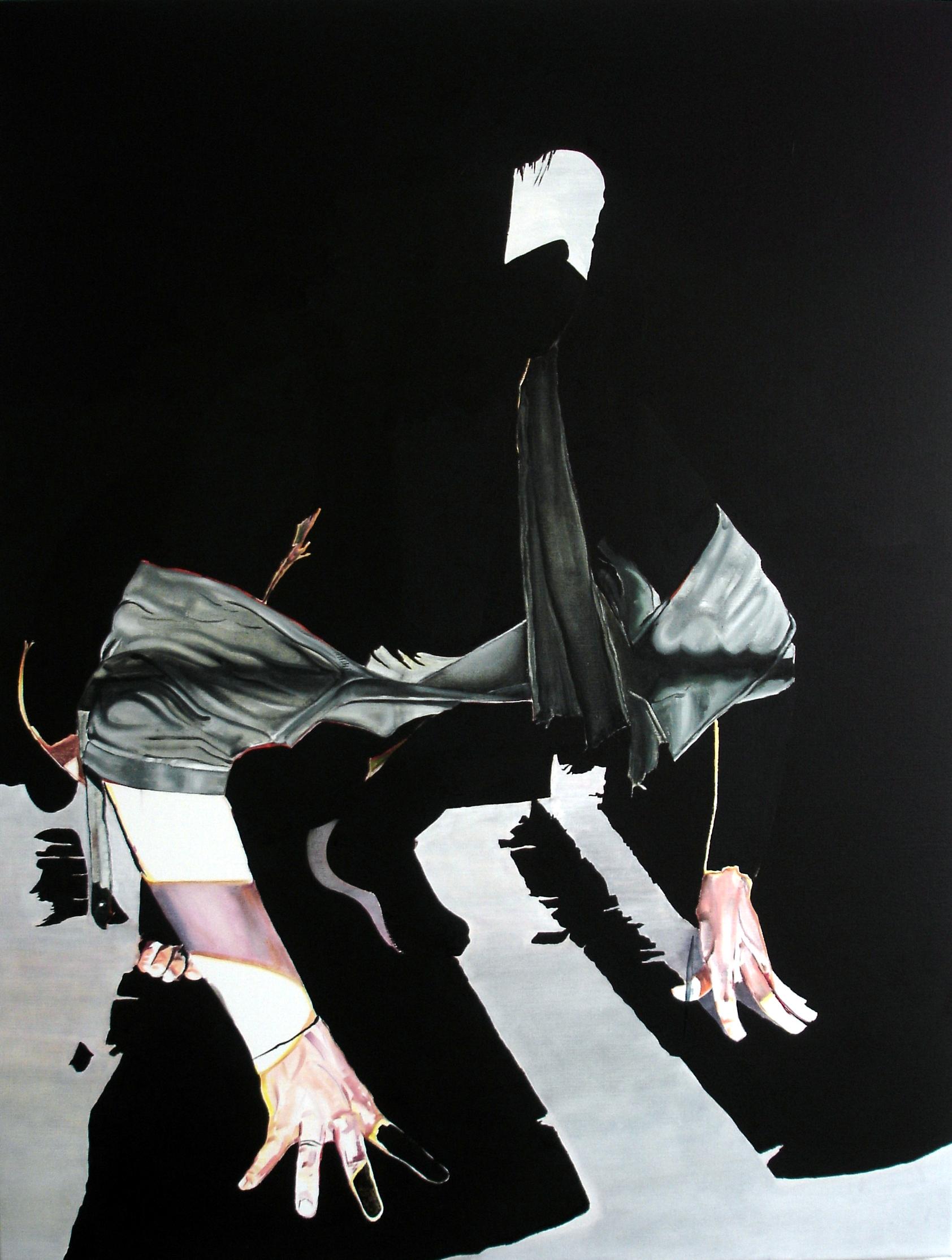 Wouter van de Koot painting woman crouching blindfold